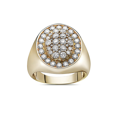 Men's 14K Yellow Gold Ring with 2.17 CT Diamonds