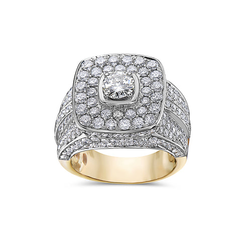 Men's 14K Yellow Gold Ring with 4.92 CT Diamonds