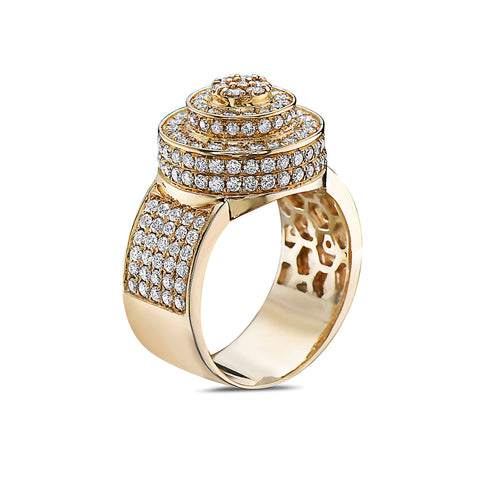 Men's 14K Yellow Gold Ring with 2.51 CT Diamonds