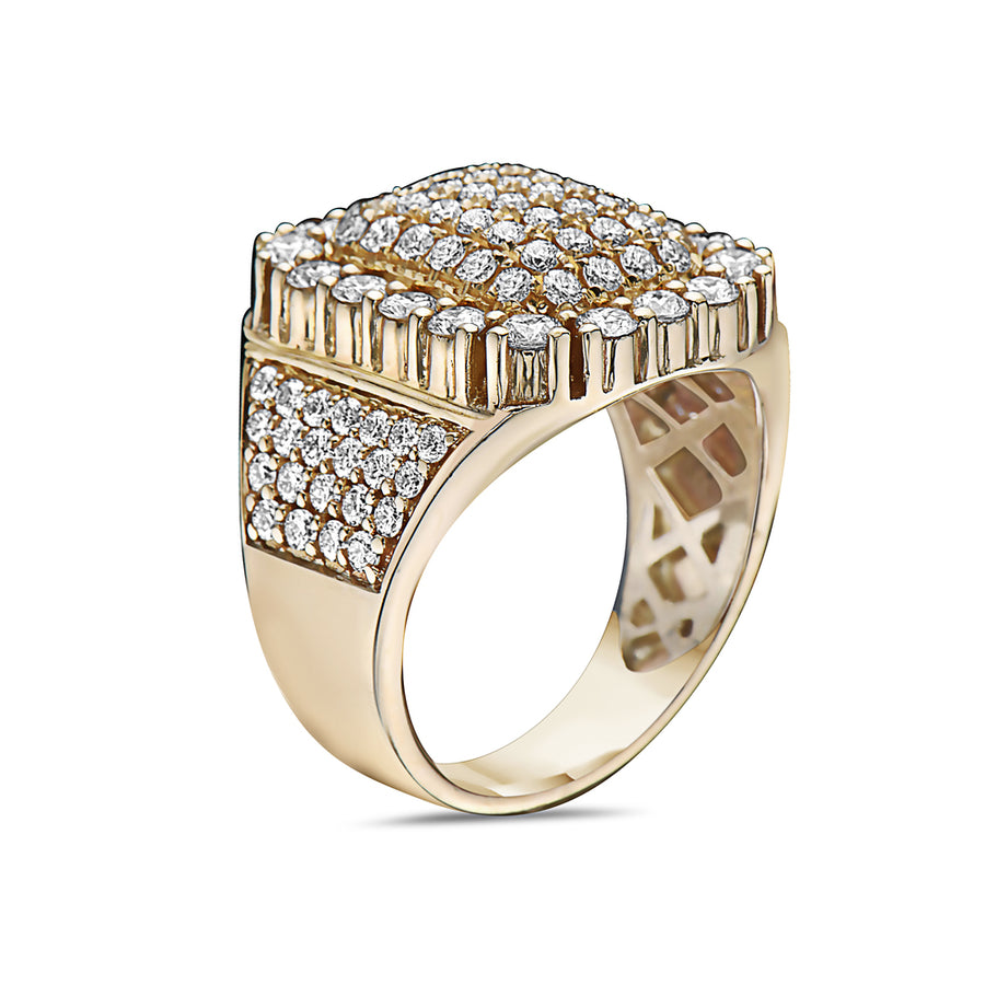 Men's 14K Yellow Gold Ring with 2.93 CT Diamonds