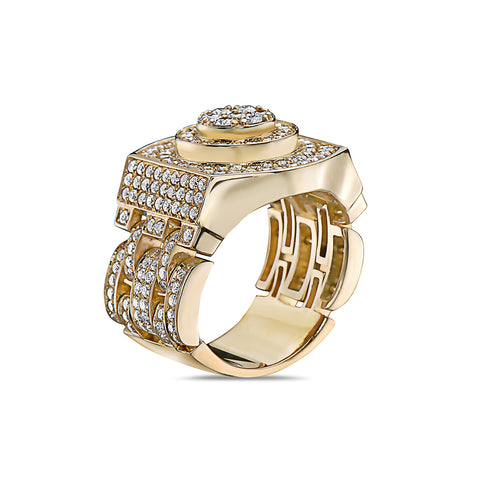 Men's 14K Yellow Gold Ring with 3.05 CT Diamonds