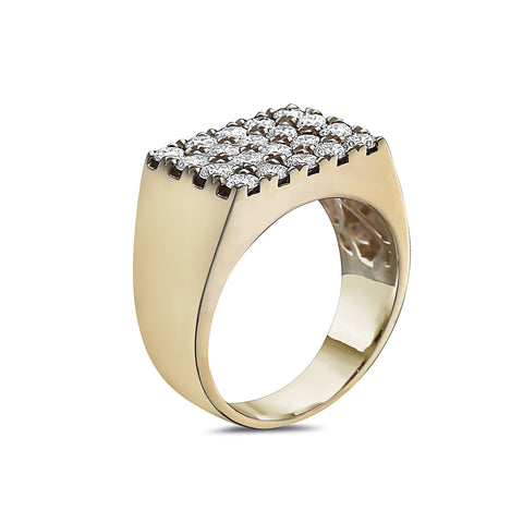 Men's 14K Yellow Gold Ring with 2.96 CT Diamonds