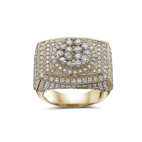 Men's 14K Yellow Gold Ring with 4.50 CT Diamonds