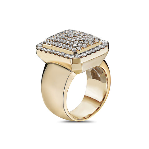 Men's 14K Yellow Gold Ring with 2.56 CT Diamonds