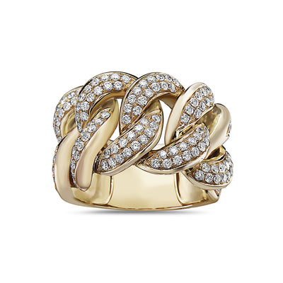 Men's 14K Yellow Gold Curb Chain Ring with 2.75 CT Diamonds