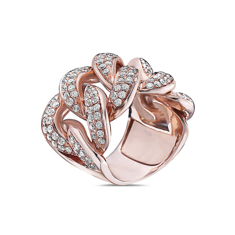 Men's 14K Rose Gold Curb Chain Ring with 2.60 CT Diamonds