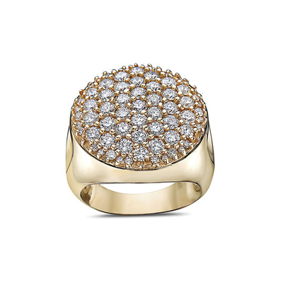 Men's 14K Yellow Gold Ring with 3.30 CT Diamonds