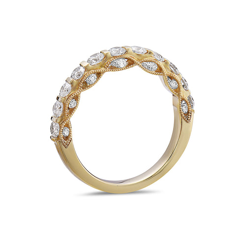 Ladies 18K Yellow Gold With 1.09 CT Diamond Wedding Band