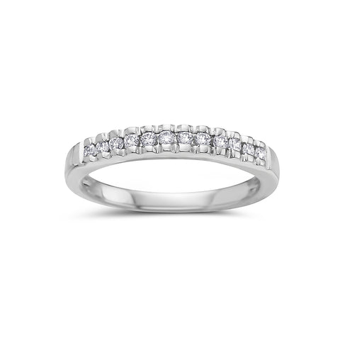 Ladies 18K White Gold With 0.25 CT Diamond Wedding Band