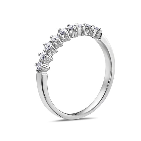 Ladies 14K White Gold With 0.34 CT Diamond Wedding Band