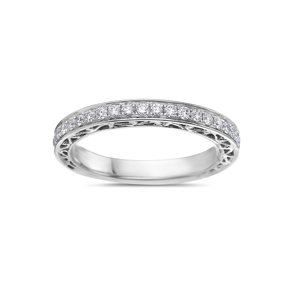 Ladies 18K White Gold With 0.45 CT Diamonds Wedding Band