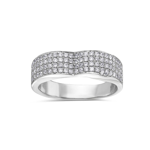Ladies 14k White Gold With 1 CT Diamond Wedding Band