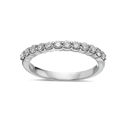 Ladies 18K White Gold With 0.50 CT Diamond Wedding Band