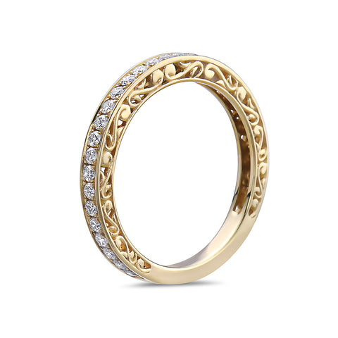 Ladies 18K Yellow Gold Wedding Band with 0.42 CT Diamonds