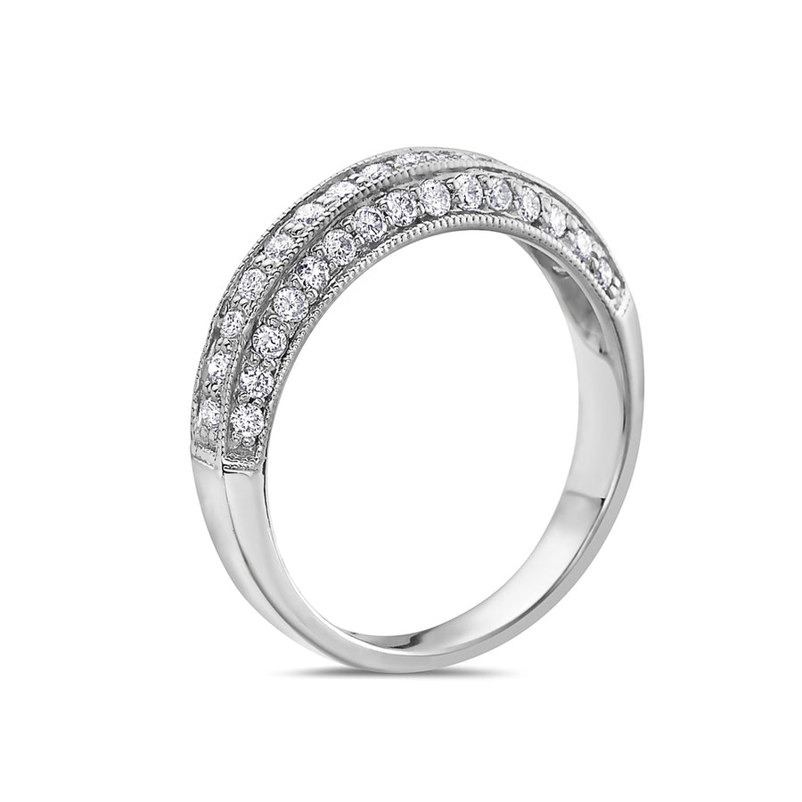 Ladies 14K White Gold With 0.50 CT Diamond Wedding Band
