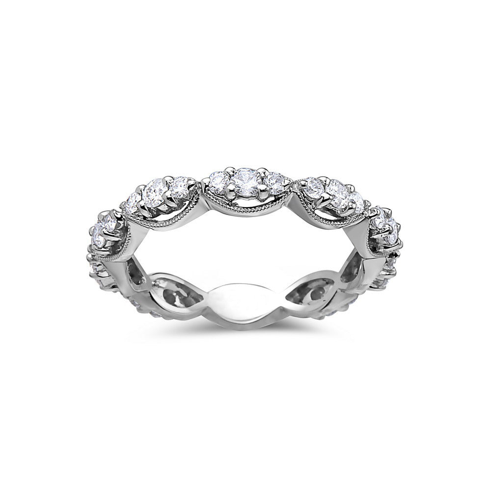 Ladies 18k White Gold With 0.84 CT Wedding Band