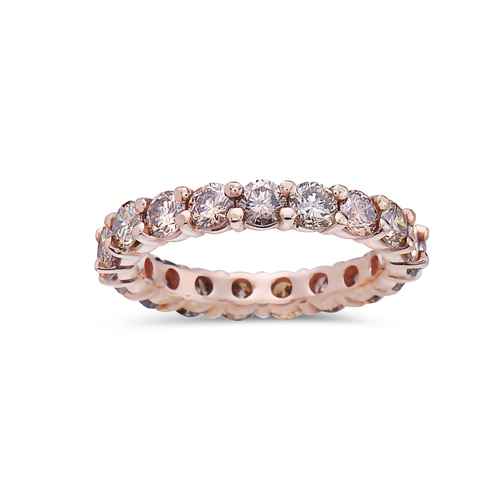 Ladies 14K Rose Gold With 2.50 CT Diamonds Wedding Band
