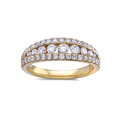 Ladies 18k Yellow Gold With 0.88 CT Diamonds Wedding Band