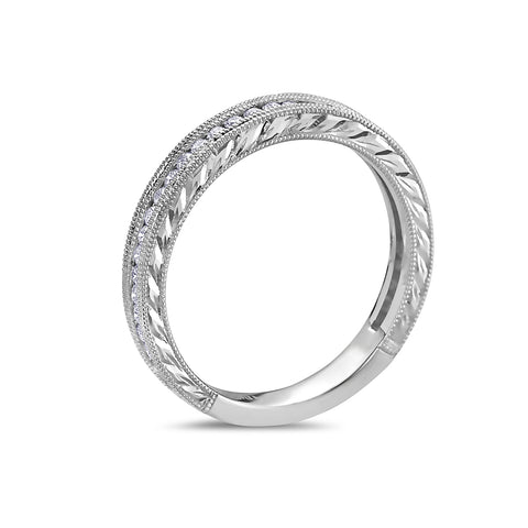 Ladies 18k White Gold With 0.31 CT Diamond Wedding Band