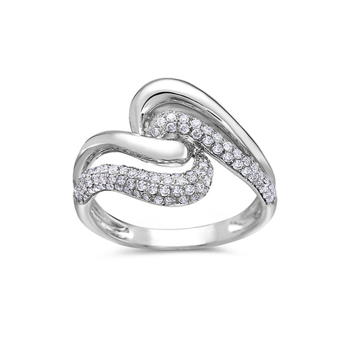 Ladies 18k White Gold With 0.65CT Right Hand Ring