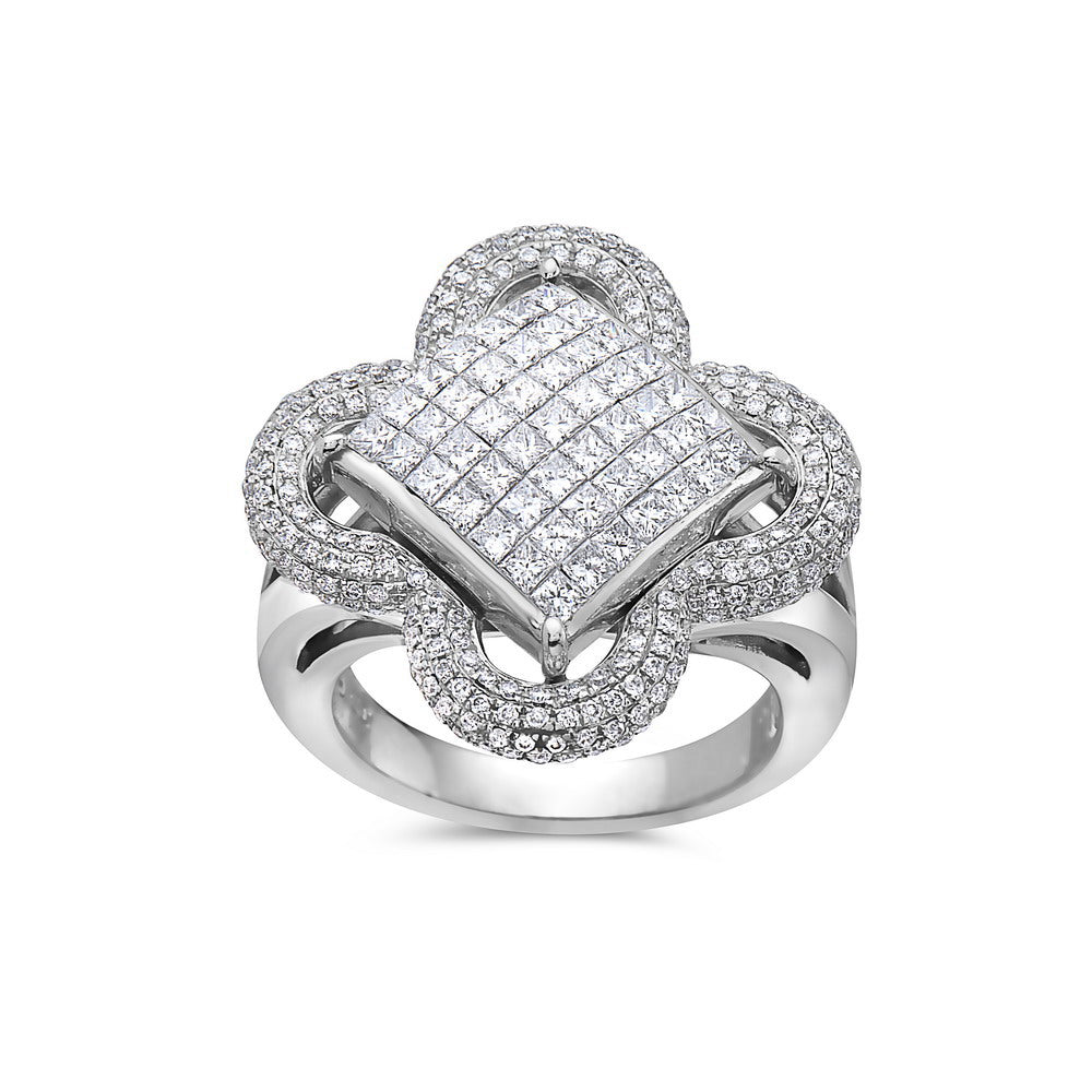Ladies 14k White Gold With  2.40 CT Right Hand Ring