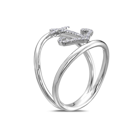 Ladies 18k White Gold With 0.14 CT Right Hand Ring