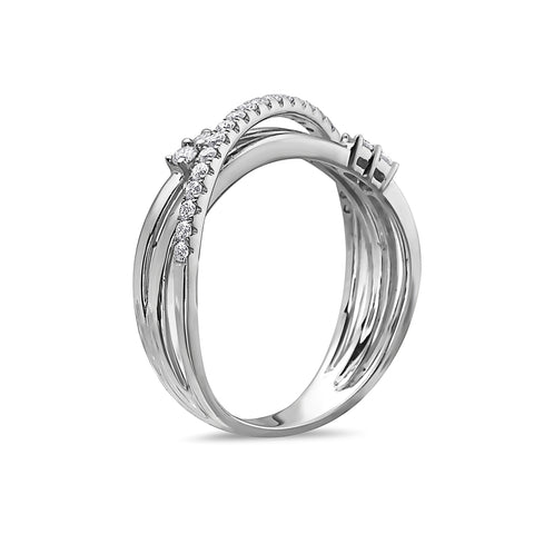 Ladies 18k White Gold With 0.35 CT Right Hand Ring