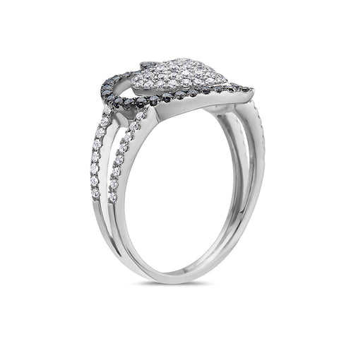 Ladies 14k White Gold With 0.87 CT Right Hand Ring