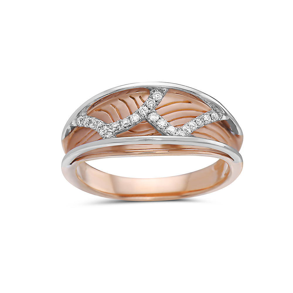 Ladies 18k Rose Gold With 0.15CT Right Hand Ring