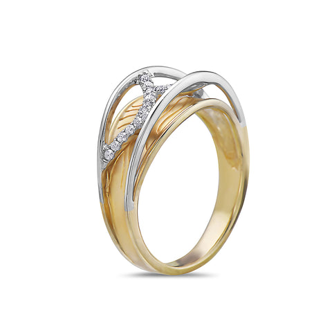 Ladies 18k Yellow Gold With 0.15 CT Right Hand Ring