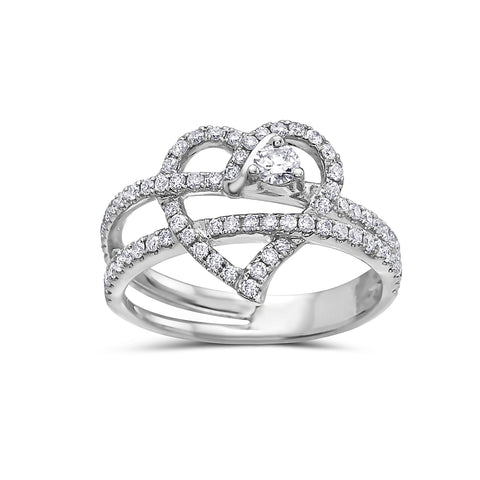 Ladies 18k White Gold With 0.56 CT Right Hand Ring
