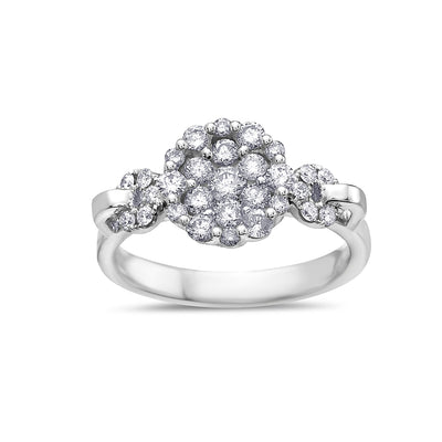 Ladies 18k White Gold With 0.90 CT Cluster Engagement Ring