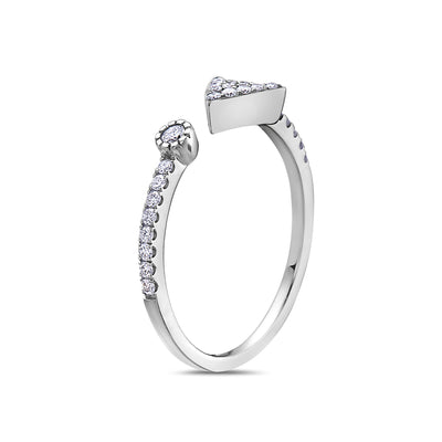 Ladies 18k White Gold With 0.21 CT Right Hand Ring