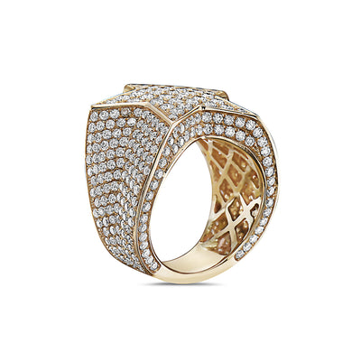 Men's 14K Yellow Gold Star Ring with 6.49 CT Diamonds