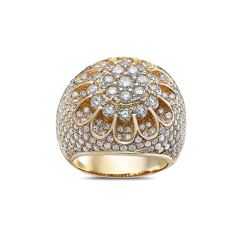 Men's 14K Yellow Gold Cluster Ring with 6.41 CT Diamonds