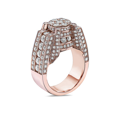 Men's 14K Rose Gold Ring with 4.91 CT Diamonds