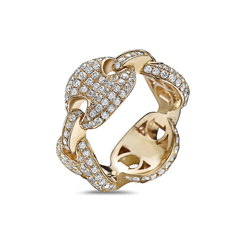 Men's 14K Yellow Gold Chain Ring with 3.45 CT Diamonds