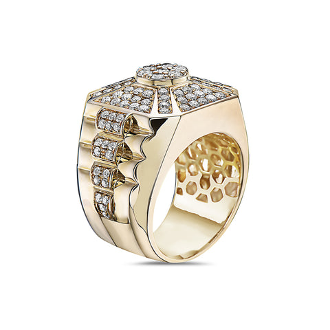 Men's 14K Yellow Gold Ring with 2.22 CT Diamonds