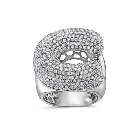 Men's 14K White Gold 'C' Ring with 4.85 CT Diamonds