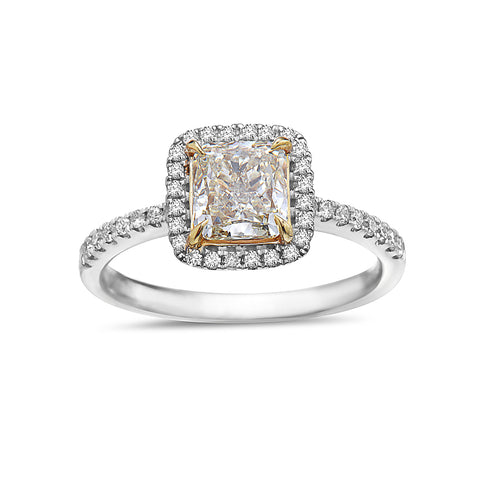 Ladies 18k Yellow And White Gold Halo With 1.53 CT Engagement Ring
