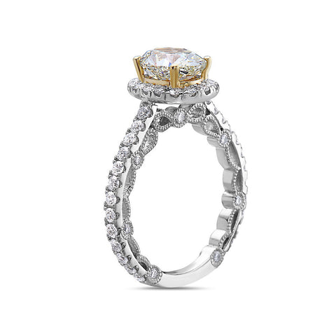 Ladies 18k White Gold Halo With 2.99 CT Engagement Ring