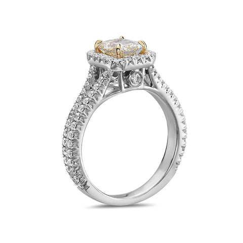 Ladies 18k White Gold Halo With 1.71 CT Engagement Ring