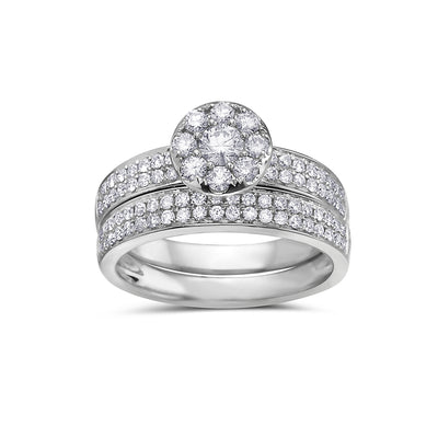 Ladies 14k White Gold Halo Ring With 1.08 CT Bridal Set
