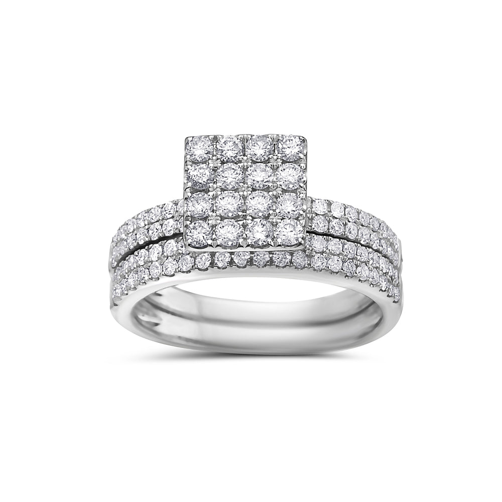 Ladies 14k White Gold With 1.09 CT Bridal Set