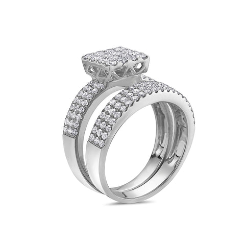 Ladies 14k White Gold With 1.42 CT Bridal Set