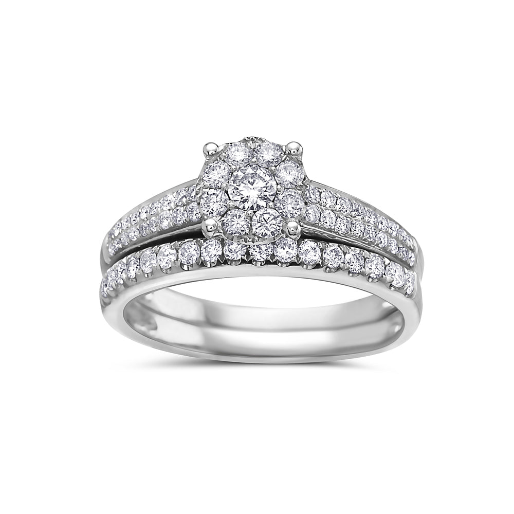 Ladies 14k White Gold Halo With 0.84 CT Bridal Set