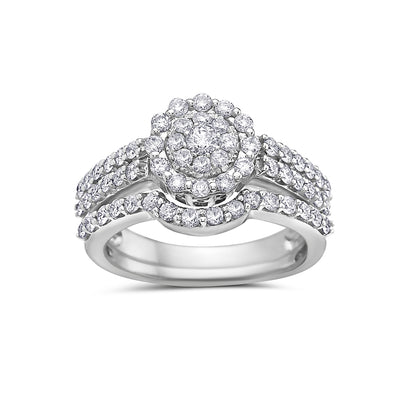 Ladies 14k White Gold With 1.40 CT Bridal Set