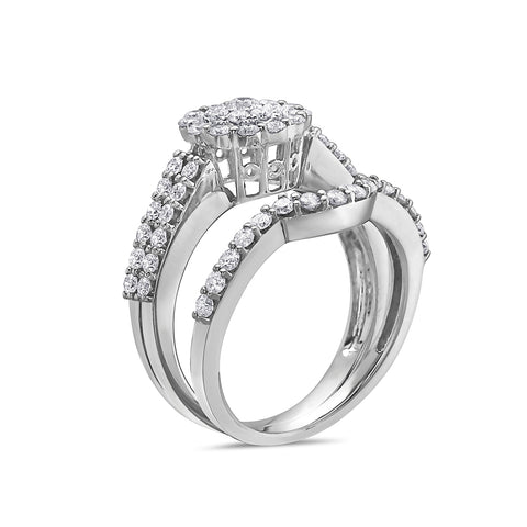 Ladies 14k White Gold Halo With 1.40 CT Bridal Set