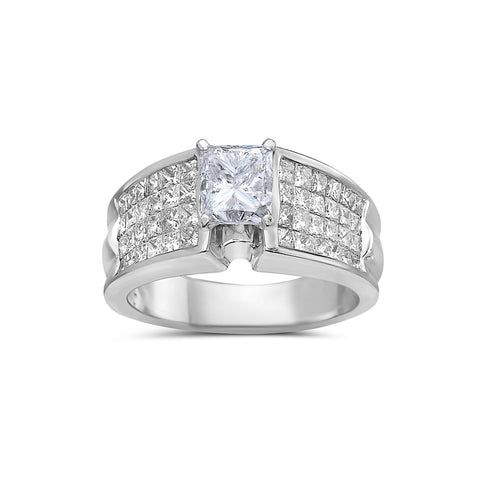 Ladies 14k White Gold With 2.45 CT Engagement Ring