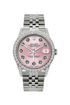 Rolex Datejust 36mm Stainless Steel Red Light Pink Dial w/ Diamond Bezel and Lugs